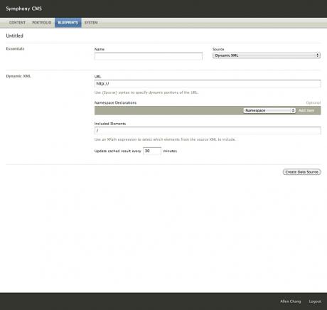 Data Source Editor: Dynamic XML
