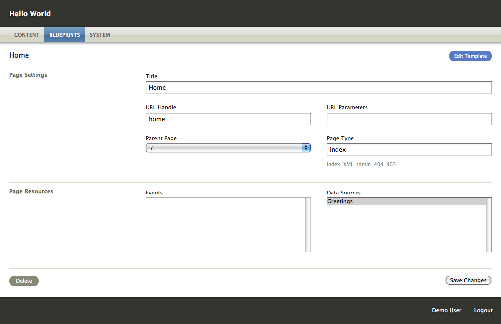 Подключение источника данных в редакторе страниц
